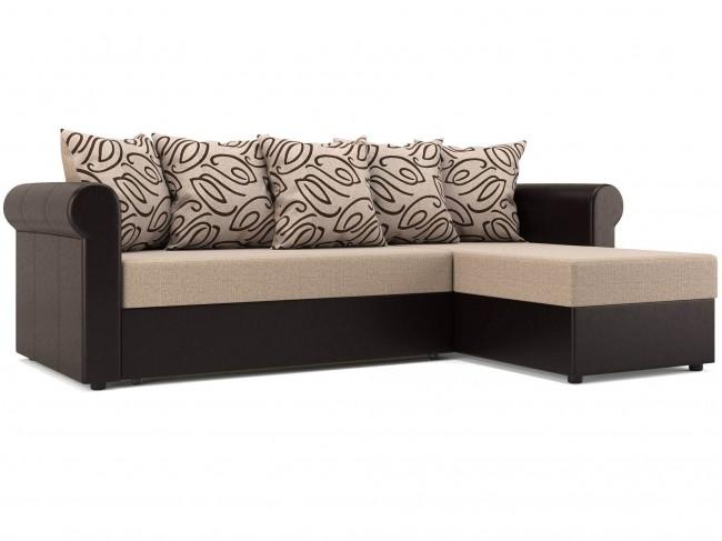 Угловой диван Париж (Рейн) Дельфин Рогожка, Искусственная кожа Бежевый, Темно-коричневый 240х85х154