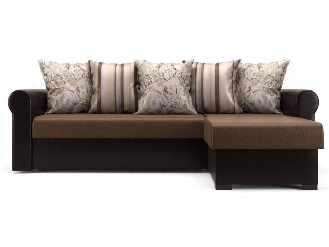 Угловой диван Париж (Рейн) Дельфин Рогожка, Искусственная кожа Темно-коричневый 225х82х152