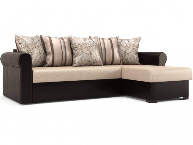 Угловой диван Париж (Рейн) Дельфин Искусственная кожа, Рогожка Темно-коричневый, Бежево-розовый 225х82х152