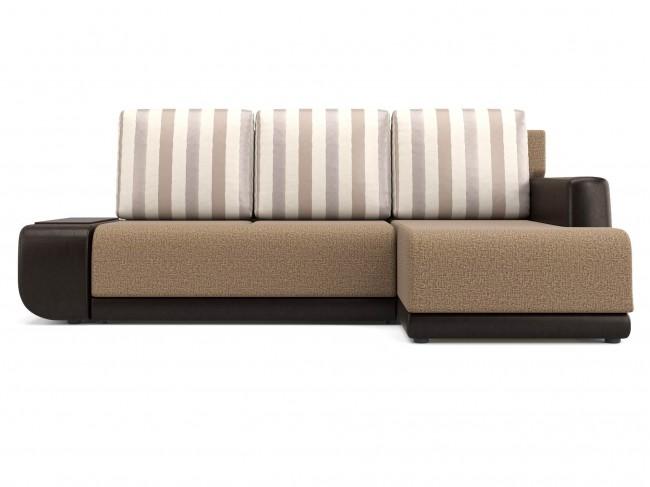 Угловой диван Поло (Нью-Йорк) Правый Еврокнижка Рогожка, Экокожа Бежевый 246х93х156