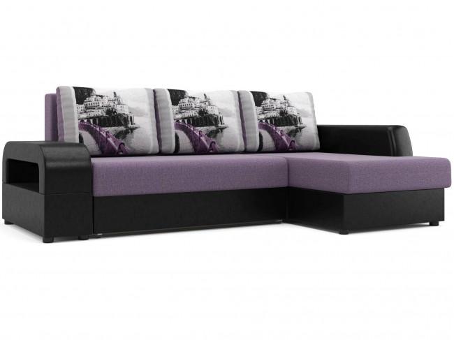 Угловой диван Дубай Правый Еврокнижка Искусственная кожа, Рогожка Фиолетовый, Черный 239х93х156