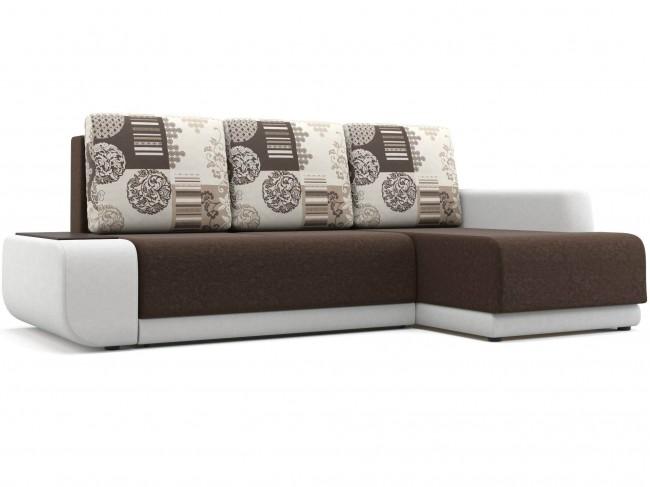 Угловой диван Поло (Нью-Йорк) Правый Еврокнижка Вельвет, Искусственная кожа Коричневый 246х93х156