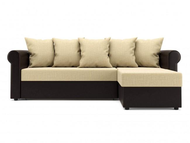 Угловой диван Париж (Рейн) Дельфин Рогожка, Искусственная кожа Темно-коричневый, Бежевый 240х85х154