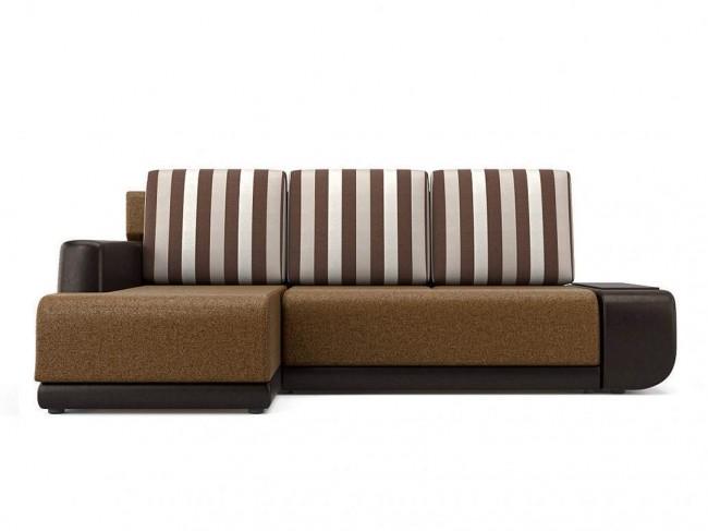 Угловой диван Поло (Нью-Йорк) Левый Еврокнижка Искусственная кожа, Текстиль Коричневый 246х93х156