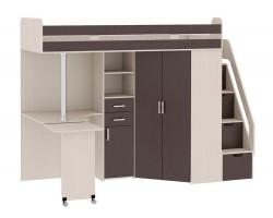 Кровать-чердак со шкафом и столом Рада