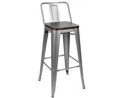 Барный стул Stool Group Tolix wood со спинкой серебристый матовый [YD-H675E-W YG-15]