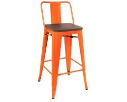 Барный стул Stool Group Tolix wood со спинкой оранжевый глянцевый [YD-H675E-W LG-05]