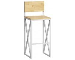 Барный стул Loftyhome Бервин 2 [br060304] натуральный с белым основанием лофт