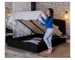 """Кровать с подъемным механизмом Мягкая """"Stefani"""" 1600 темная"""