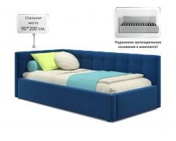 Кровать Односпальная -тахта Bonna 900 синяя ортопед.основание