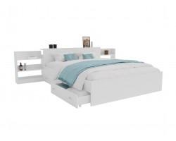 Кровать Доминика с блоком и ящиками 160 (Белый) с матрасом PROMO