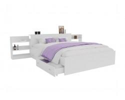 Кровать Доминика с блоком и ящиками 140 (Белый) с матрасом ГОСТ
