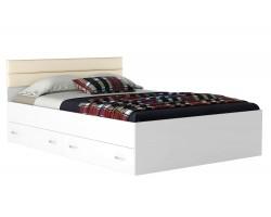 Кровать Виктория-МБ 140 с ящиками белая с матрасом ГОСТ