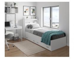 Детская кровать Виктория белая 90 с блоком и ящиками