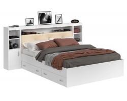 Кровать Виктория ЭКО-П белая 140 с блоком, тумбами и ящиками