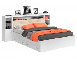 Кровать двуспальная Виктория ЭКО-П белая 160 с блоком, тумбами и ящиками