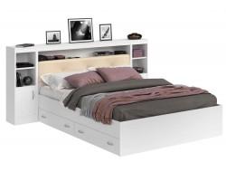 Кровать двуспальная Виктория ЭКО-П белая 180 с блоком, тумбами и ящиками