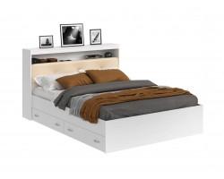 Кровать Виктория ЭКО-П белая 140 с блоком и ящиками с матрасом Г