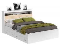 Кровать Виктория ЭКО-П белая 140 с блоком и ящиками с матрасом P
