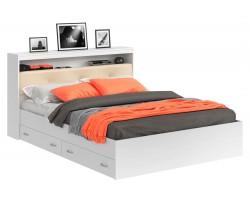 Кровать двуспальная Виктория ЭКО-П белая 180 с блоком и ящиками с матрасом P