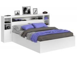 Кровать Виктория белая 140 с блоком, тумбами и матрасом ГОСТ