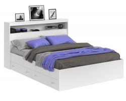 Кровать Виктория белая 140 с блоком, ящиками и матрасом ГОСТ