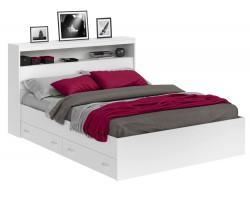 Кровать двуспальная Виктория белая 180 с блоком, ящиками и матрасом ГОСТ