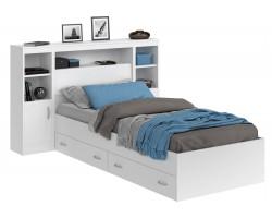 Детская кровать Виктория белая 90 с блоком, тумбами, ящиками и матрасом