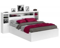 Кровать двуспальная Виктория белая 180 с блоком, тумбами и матрасом PROMO B
