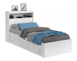 Кровать Виктория белая 90 с блоком, ящиками и матрасом PROMO B C