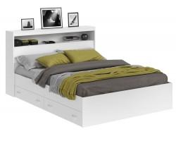 Кровать двуспальная Виктория белая 160 с блоком, ящиками и матрасом PROMO B