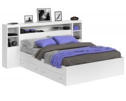 Кровать Виктория белая 140 с блоком, тумбами, ящиками и матрасом