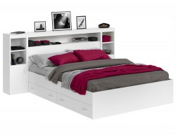 Кровать двуспальная Виктория белая 180 с блоком, тумбами, ящиками и матрасом