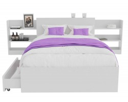 Кровать Доминика с блоком и ящиками 120 (Белый) с матрасом PROMO