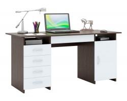 Стол компьютерный письменный Милан-7Я (0120) венге / белый
