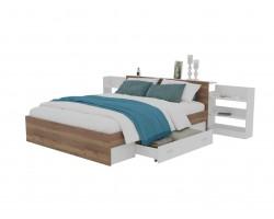 Кровать Доминика с блоком и ящиком 140 (Дуб Золотой/Белый)
