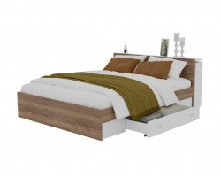 Кровать Доминика с блоком и ящиком 160 (Дуб Золотой/Белый)