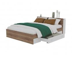 Кровать Доминика с блоком и ящиком 140 (Дуб Золотой/Белый) с