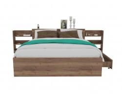 Кровать Доминика с блоком и ящиком 160 (Дуб Золотой) с матрасом
