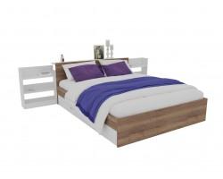 Кровать Доминика с блоком и ящиком 160 (Дуб Золотой/Белый) с