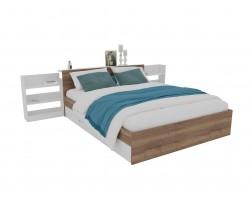 Кровать Доминика с блоком и ящиками 160 (Дуб Золотой/Белый) с