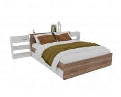 Кровать Доминика с блоком и ящиками 140 (Дуб Золотой/Белый) с