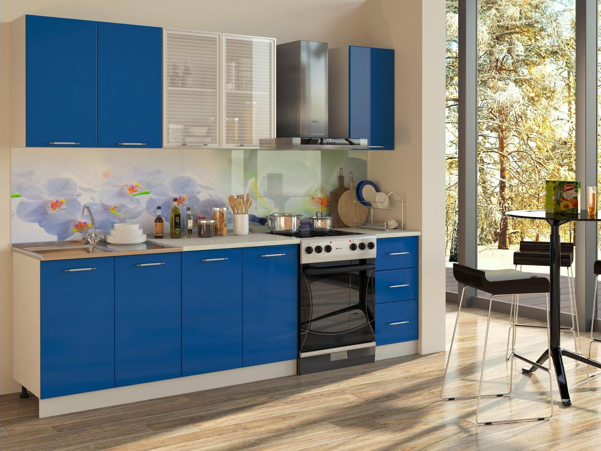 кухня с синими фасадами фото фотосессия проходила